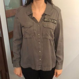 H&M Army blouse with Studs (size 8)